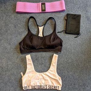 Sports bras and resistance band bundle